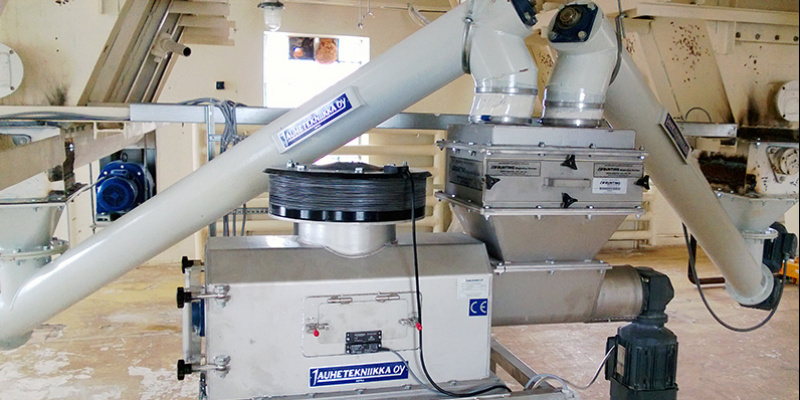 Centrifugal screen EX710 for wheat flour screening. Magnetic separator is added to the screen. Eesti Pagar, 2012.