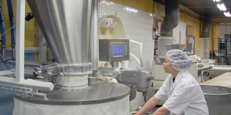 Scale hopper in artisan bakery